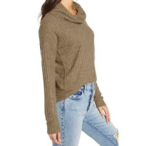 BP XXS Heather Olive Green Ribbed Sweater